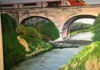 Virgin train and viaduct mural