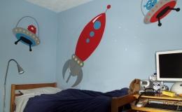 Retro rocket mural