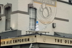 Old ALe Emporium logo mural
