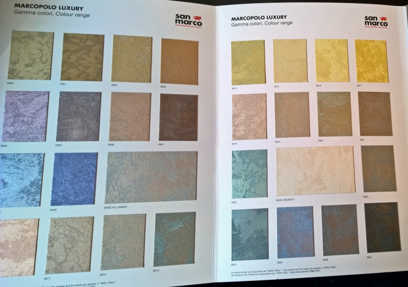 Some of the Luxury colours available