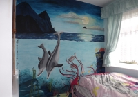 Underwater mural with dolphins