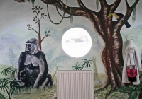 Gorilla and baby jungle mural