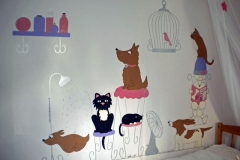 Cat and dog beauty parlour mural