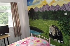 Jungle sunset room with lion