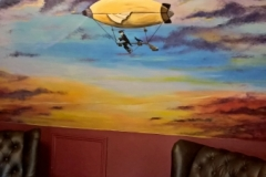 Sunset mural with steampunk airship