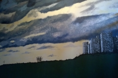 Stormy sky and castle mural
