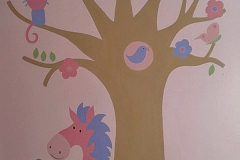Fantasy woodland mural with pony