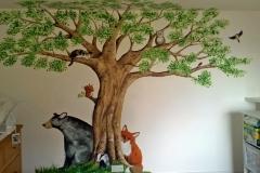 Nursery tree mural with bear