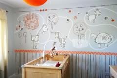 African inspired nursery mural