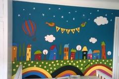 Fun illustrative style nursery mural