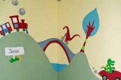 Dinosaur and transport mural