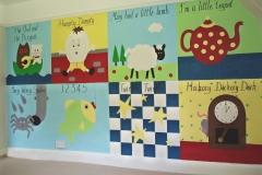 Patchwork nursery mural