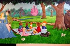Storybook character woodland mural