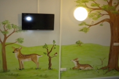 Woodland mural with animals