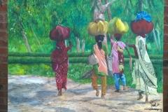 Women carrying sacks