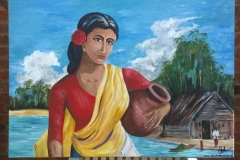 Painting of a girl carrying a water jug