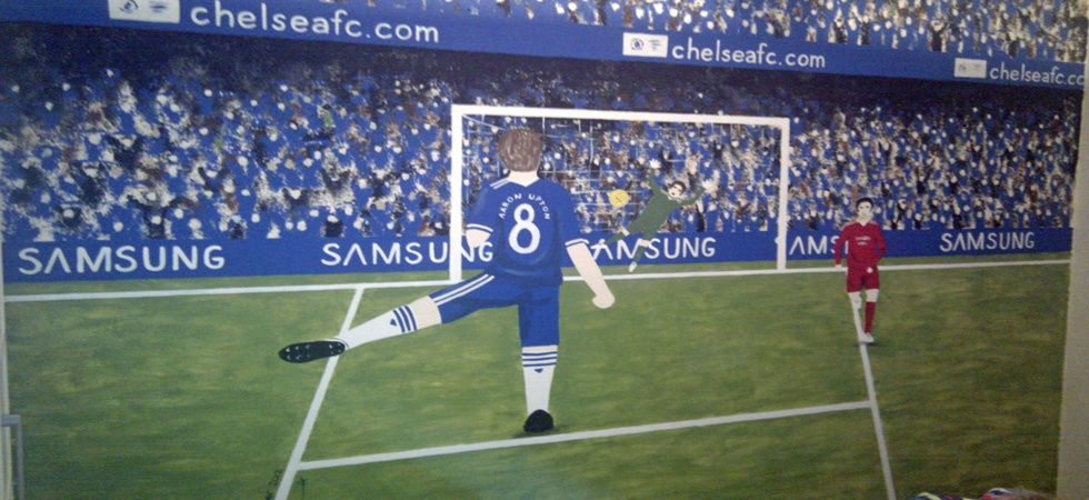 Chelsea football mural for boys bedroom