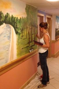 Sarah Hodgkins painting in a demential unit