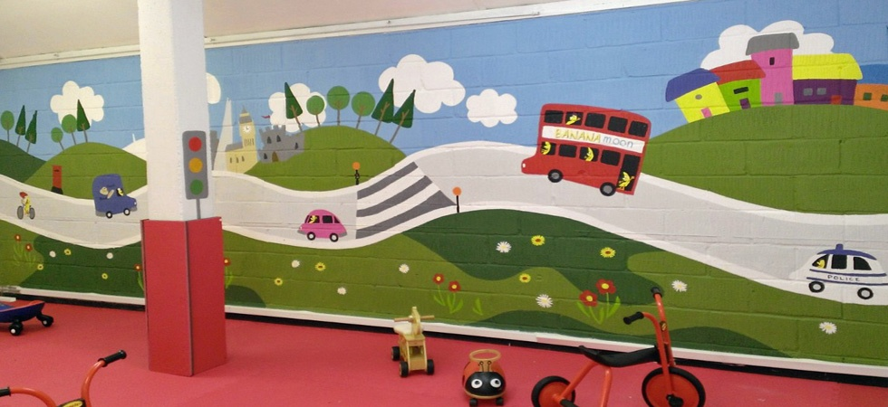Transport mural for a day nursery