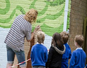 Children watching mural painting