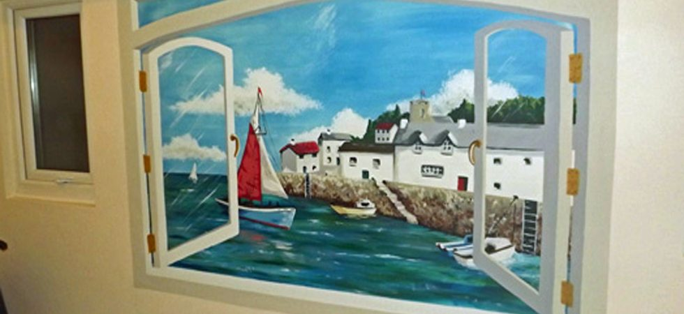 Trompe l'oeil bathroom mural for care home