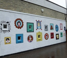 Book character mural for school playground
