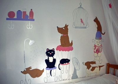 Image of cat and dog mural for girl's room