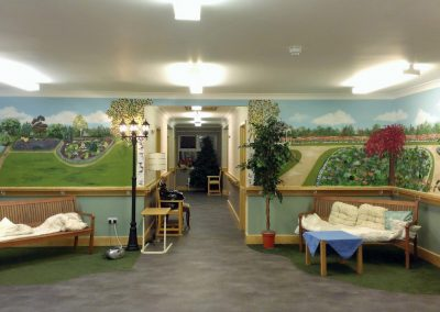 Park murals in the communal area of a dementia care home
