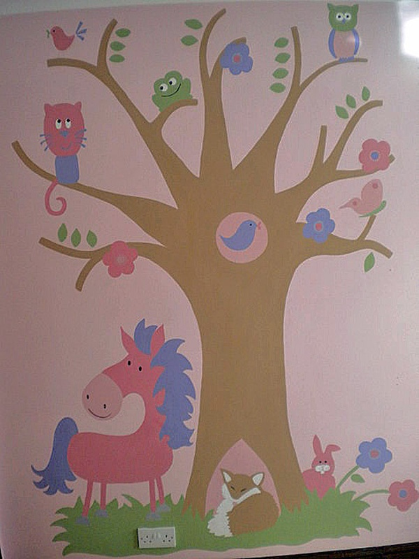Girls pink fantasy woodland mural with pony