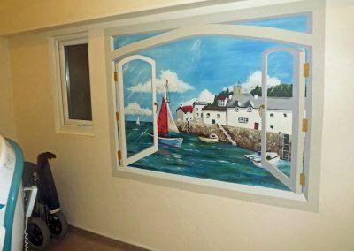 trompe l'oeil window mural