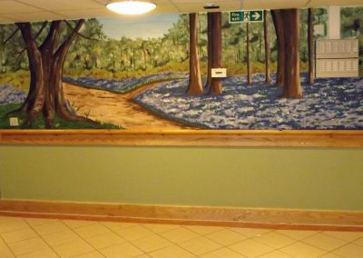 Bluebell wood mural in communal area of care home