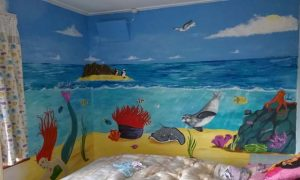 Girls undersea mural with mermaid