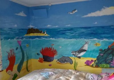 Image of Girls undersea mural with mermaid