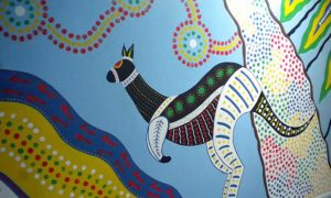Aboriginal style mural of kangaroo for a school