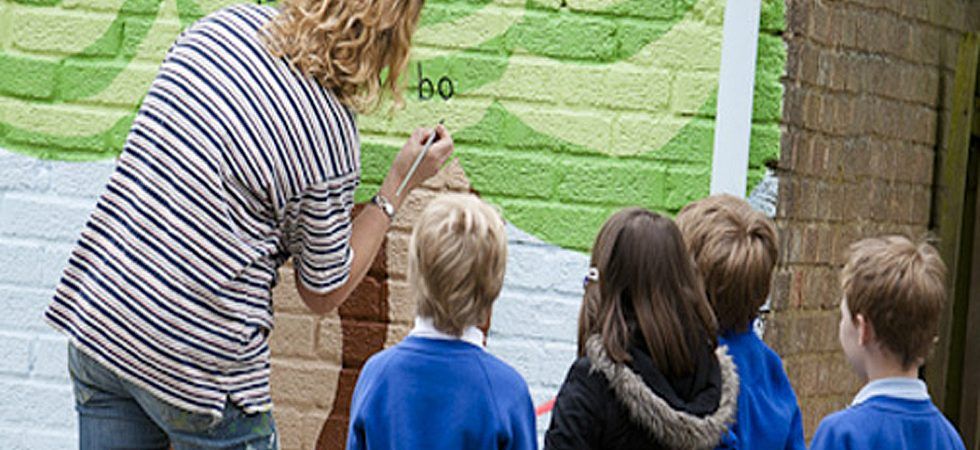 school children on a mural workshop