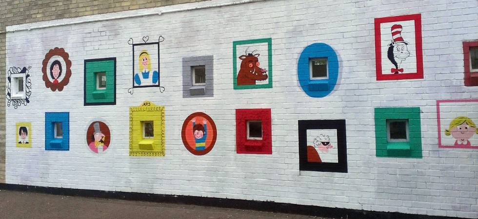 Book character art gallery mural for school playground