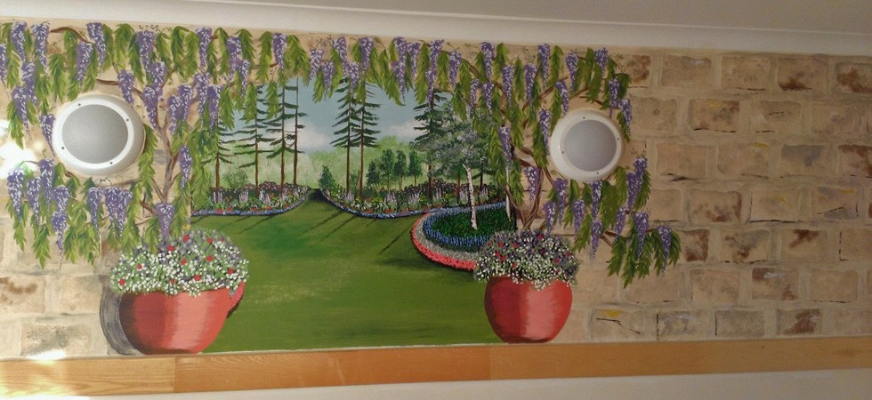 Garden mural for care home sitting room