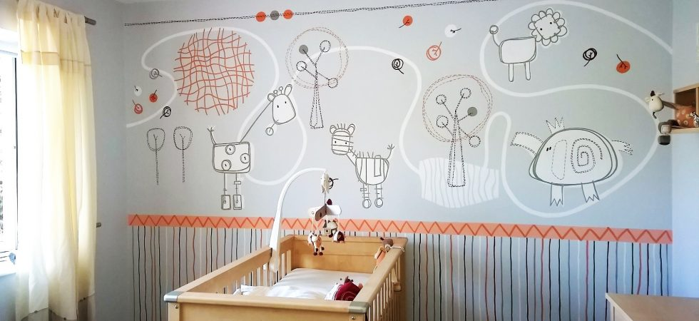 Beautiful african safari nursery mural