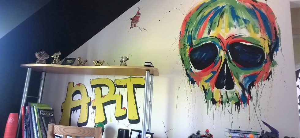 Graffiti style bedroom mural with skull