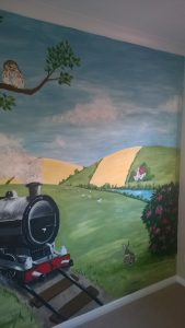 summer countryside room with steam train.