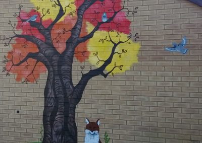 Tree mural with pigeon and fox