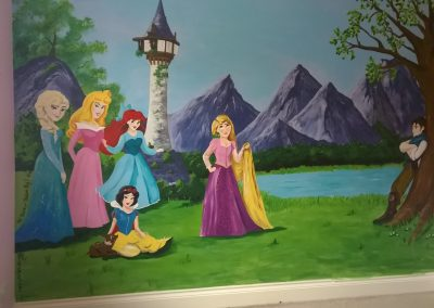 Image of Disney princess mural with rapunzel, Anna, snow white, Ariel, Aurora