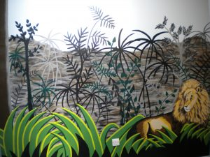 Rousseau inspired jungle mural with lion