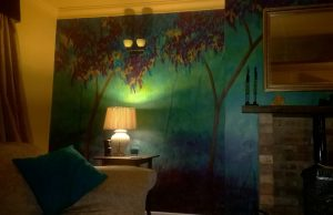 Sitting room feature wall mural
