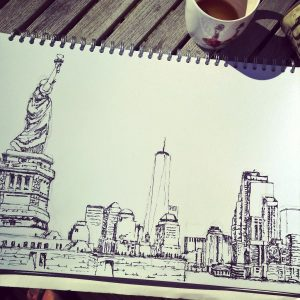 black and white drawing of New York skyline