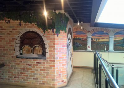 faux brick mural and trompe l'oeil