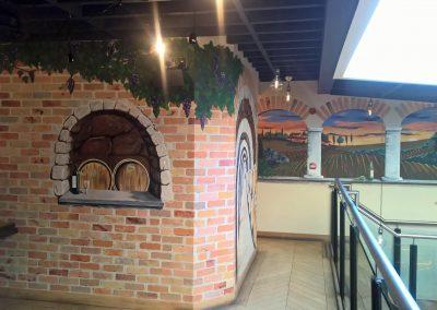 faux brick mural and trompe l'oeil