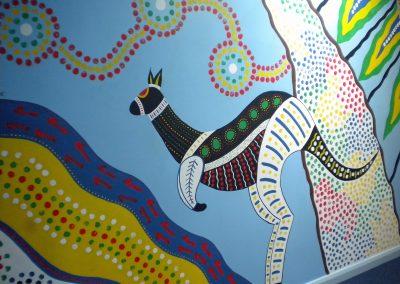 Image of aboriginal style kangaroo mural