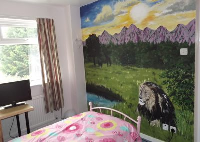 Image of African sunrise mural with lion