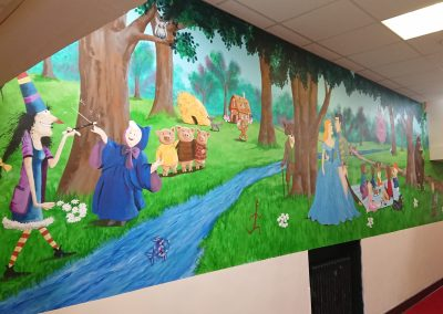 Image of storybook mural for school